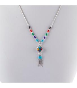 Liquid Silver necklace. Zuni multicolored square pendant, for women and girls.