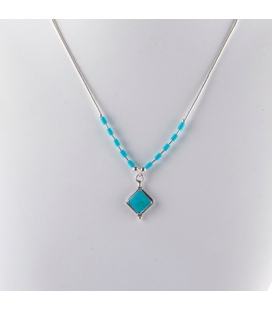 """""""Liquid Silver"""" necklace. Turquoise square pendant, for women and girls."""