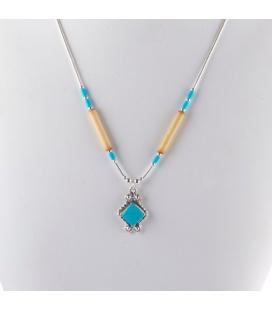 """Collier """"Liquid Silver"""" , pendentif carré Turquoise et Bambou. Pour femme et enfant ."""