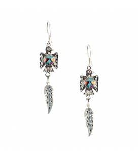NATIVE AMERICAN ZUNIS EARRINGS, DIAMOND STONES ON SILVER, FOR WOMEN AND KIDS