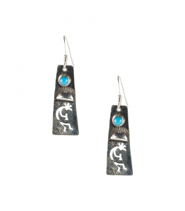 NATIVE AMERICAN NAVAJO EARRINGS, SILVER AND OPAL, WOMEN AND KIDS