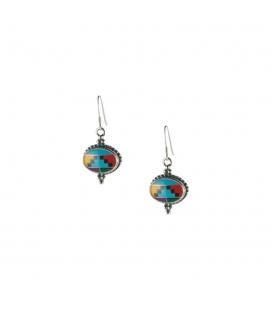 Boucles d' oreilles Zunis, multi pierres et Argent, pour femme et enfant