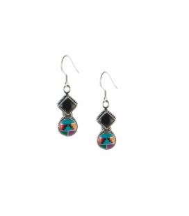 Boucles d' oreilles Zunis 2 médaillons, Argent, Onyx et multi pierres, pour femme et enfant