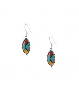Boucles d' oreilles Zunis ovales, multi pierres et Argent, pour femme et enfant
