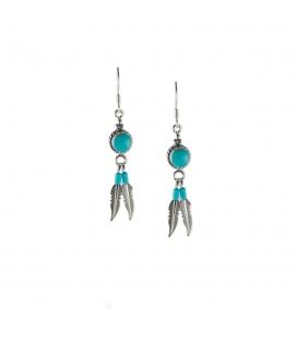 Boucles d' oreilles Navajos rondes, Argent et Turquoise, pour femme et enfant