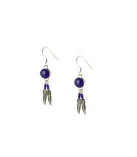 Boucles d' oreilles Navajos rondes, Argent et Lapis Lazuli, pour femme et enfant