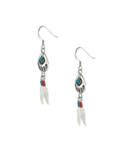 """Boucles d' oreilles Navajos """"Pattes d'Ours"""", Argent et Turquoise, pour femme et enfant"""