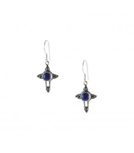 """Boucles d' oreilles Navajos """" Croix"""", Argent et Lapis Lazuli, pour femme et enfant"""