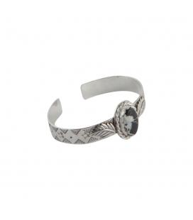 """Bracelet """"Plume"""" Banditas Créations, en Argent estampé et Turquoise """"White Buffalo"""", fait main, pour femme"""