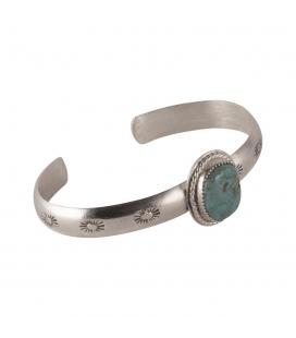 """Bracelet """"Half Round"""" Banditas Créations, en Argent estampé et Turquoise Natural Gobder, fait main, pour femme"""