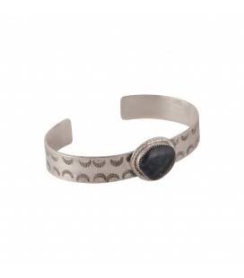 """SL Bijoux Creations Cuff, Stamped Silver and """"Rainbow Calsilica"""", for women"""