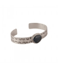 Banditas Creations 1 barr Bracelet, Stamped Silver and White Buffalo Turquoise, for women