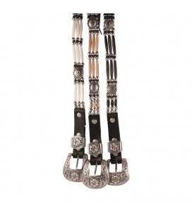 3 strands Leather belts, bone or horn beads, metal Conchos, for men and women, made in USA