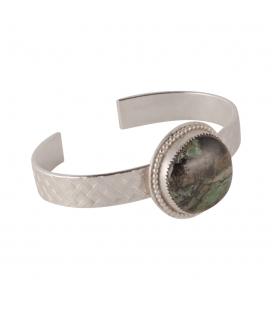 """Bracelet """"Tresse Variscite"""" SL bijoux Créations, en Argent estampé et """"Variscite"""" ronde, fait main, pour femme"""