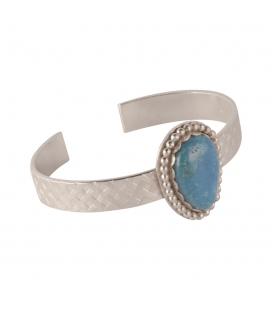 """Bracelet """"Tresse Turquoise"""" Banditas Créations, en Argent estampé et """"Nacozari"""" Turquoise, fait main, pour femme"""