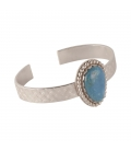 "Banditas Creations Cuff, Stamped Silver and ""Rainbow Calsilica"", for women"