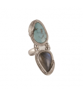 Long Women Ring, Banditas creations, 2 Nacozaris Turquoise and Abalone, on Silver, handmade work