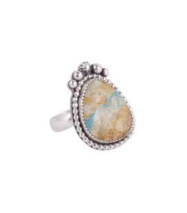Long Women Ring, SL Bijoux creations, 2 Nacozaris Turquoise and Abalone, on Silver, handmade work