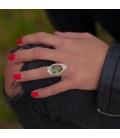 Long Women Ring, Banditas creations, 2 Nacozaris Turquoise and Abalone, on Silver, handmade work