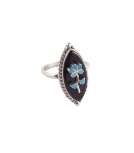 Silver, Opal and Turquoise, Native American Zuni Woman Ring