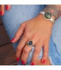 """Bracelet Banditas Créations, en Argent estampé et """"Variscite"""" ronde, fait main, pour femme"""