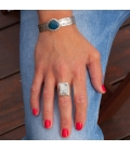 """Banditas Creations Cuff, Stamped Silver and """"Rainbow Calsilica"""", for women"""