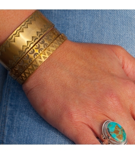 Banditas Creations 2 bars Bracelet, handstamped brass, for women