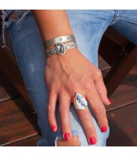 """Bracelet Banditas Créations, en Argent estampé et Turquoise """"White Buffalo"""", fait main, pour femme"""