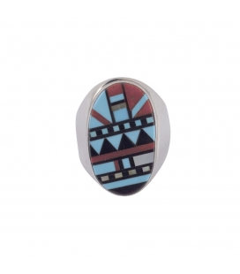 "Silver and Stones Signet Ring,, Native American ""Zuni"", men or women"