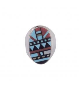 """Grosse Chevalière Zuni"""" en Argent et marqueterie de pierres, homme ou femme"""