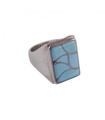 Bague Zuni rectangle, Argent et marqueterie de Turquoise, pour homme ou femme