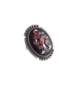 Grosse bague Zuni ovale, Argent, Turquoise, Onyx, Nacre et Corail, pièce unique par Ber Etsate, pour homme ou femme