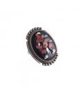 Grosse bague Zuni ovale, Argent et multipierres, pièce unique par Ber Etsate, pour homme ou femme