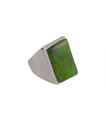 """Bague Indienne, Turquoise """"Green Copper"""" rectangle montée sur Argent brodé, pour femme"""