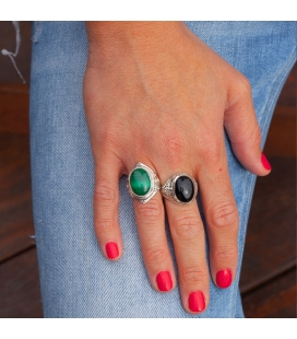 INDIAN RING, SILVER 925 AND ONYX, FOR WOMEN AND MEN