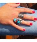 Bague Navajo Plume en Argent et Turquoise et Corail, pièce unique par Tom Lewis, homme ou femme