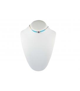 """Collier """"Liquid Silver"""" 2 rangs, Argent et Turquoise, pendentif Zuni en marqueterie de pierres, pour femme et enfant"""
