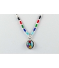 NATIVE AMERICAN LIQUID SILVER NECKLACE, SILVER AND MULTICOLORED STONES, WOMEN AND KIDS