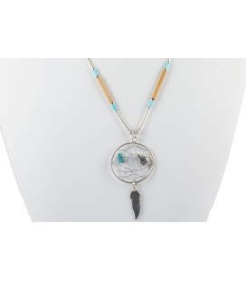 """Liquid Silver"" necklace. Mini Dream Catcher, Silver and Turquoise ,for women and girls ."