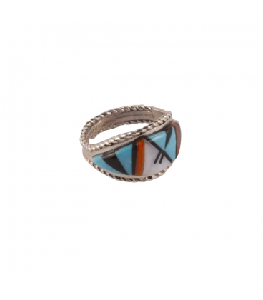 Native American Zuni Ring, Silver and Stones, Women and Men
