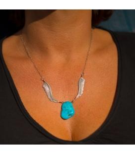 Collier Navajo, Ailes d'Aigle et magnifique Turquoise brute, Argent 925 et Turquoise, pour homme et femme