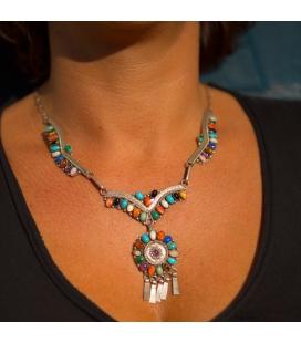 Parure Femme : Collier-Bracelet-Boucles, origine Amérindien Navajo, Argent et Pierres, ensemble ou séparément