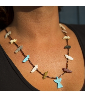 NATIVE AMERICAN PUEBLO NECKLACE HOWLITE, CORAL AND TURQUOISE WITH TURQUOISE PENDANT ON SILVER
