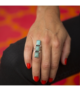 NATIVE AMERICAN NAVAJO RING, SILVER 925 AND KINGMAN TURQUOISE, FOR WOMEN