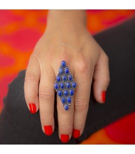 NATIVE AMERICAN NAVAJO RING, SILVER 925 AND LAPIS LAZULI, FOR WOMEN