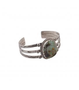 """Bracelet """"3 branches"""" Banditas Créations en Argent et """"Royston"""" Turquoise, fait main, pour femme"""
