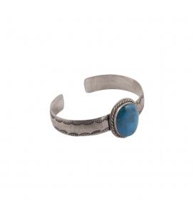 """Bracelet """"Half Round"""" Banditas Créations, en Argent estampé et """"Kingman"""" Turquoise, fait main, pour femme"""