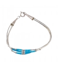 """NATIVE AMERICAN NAVAJO BRACELET """"LIQUID SILVER"""" ROWS, SILVER AND TURQUOISE, WOMEN AND CHILDREN"""