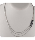 """""""Liquid Silver"""" 3 rows necklace. Turquoise and Bamboo, for women and girls."""
