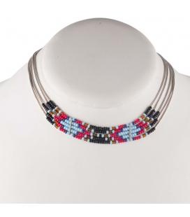 """Collier """"Liquid Silver"""" 5 rangs, Argent et perles de rocailles, pour femme et enfant."""
